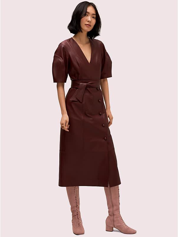 leather tie waist dress, , rr_large