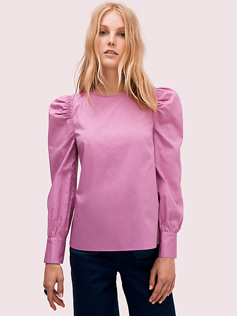 cotton puff sleeve blouse, ruffled pansy, large by kate spade new york