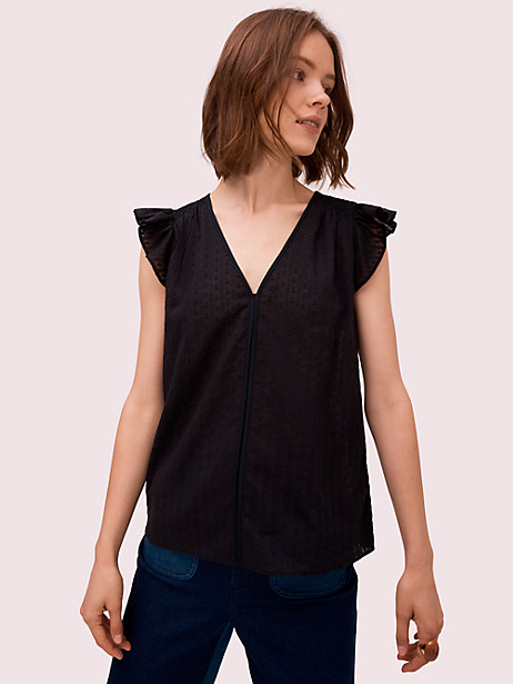 textured ruffle sleeve top, black, large by kate spade new york