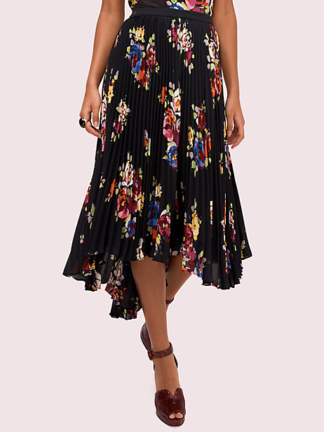 rare roses pleated skirt, black, large by kate spade new york