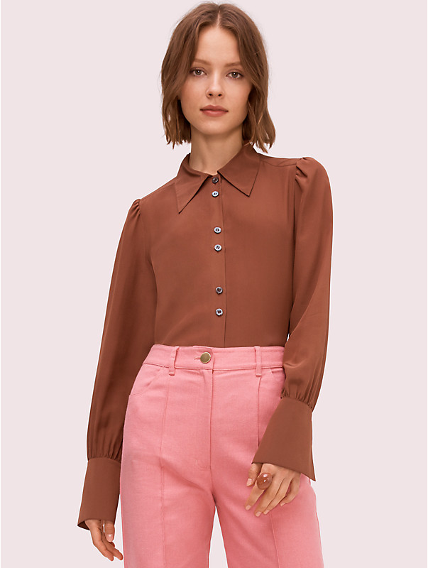 silk point collar blouse, , rr_large
