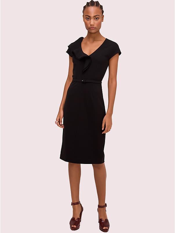 Kleid aus mattem Krepp mit Rüschendetail, , rr_large
