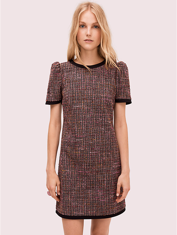 puff sleeve tweed dress, , rr_large