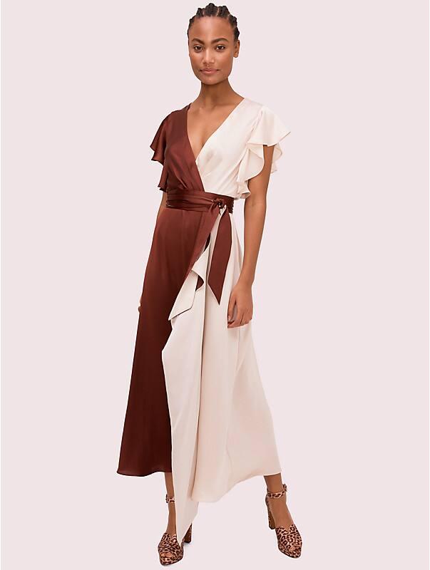 satin colorblock dress, , rr_large