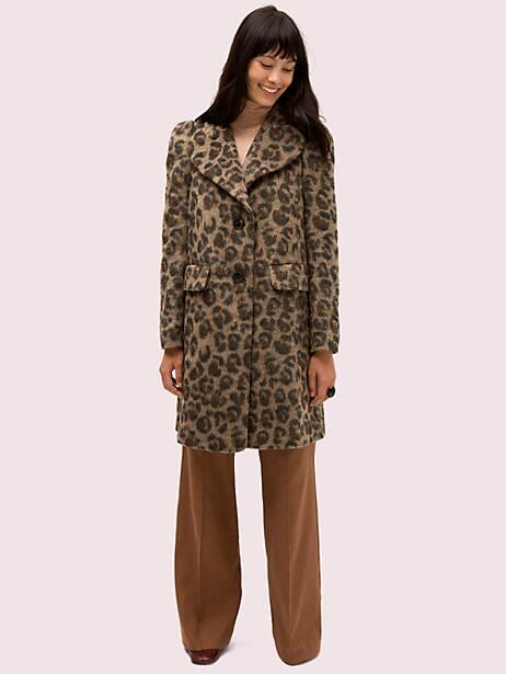 brushed leopard coat, hazelnut, large by kate spade new york