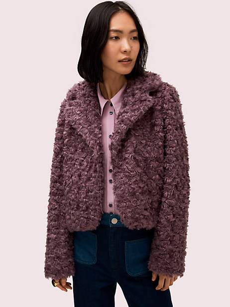 faux fur jacket, dark orchid, large by kate spade new york