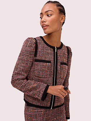 puff sleeve tweed jacket by kate spade new york non-hover view