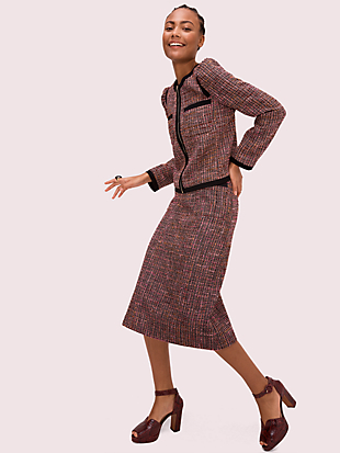 puff sleeve tweed jacket by kate spade new york hover view