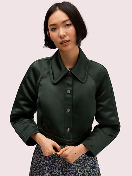 satin cropped jacket by kate spade new york