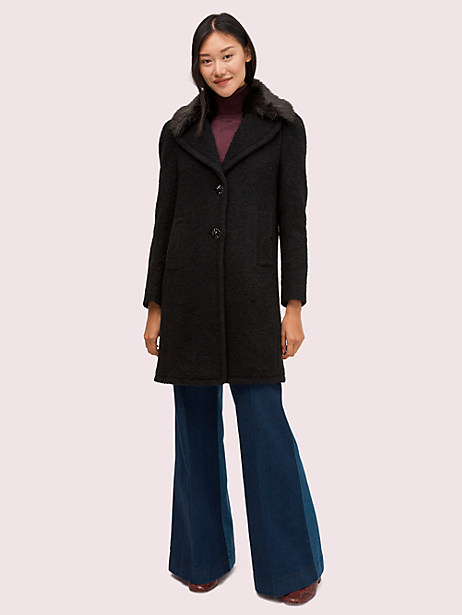 faux fur lapel coat by kate spade new york
