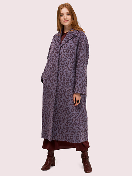 brushed leopard overcoat, purple basil, large by kate spade new york