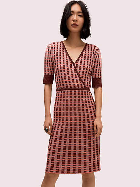 plaid wrap sweater dress by kate spade new york