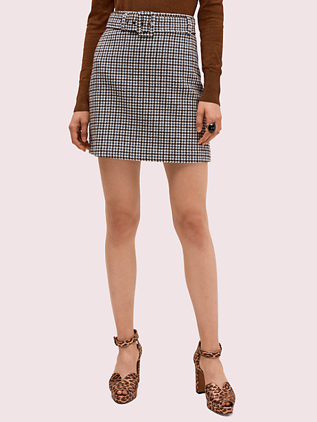 pop houndstooth mini skirt, french cream, large by kate spade new york