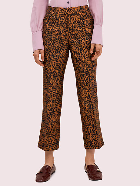 flora leopard jacquard pant, black, large by kate spade new york