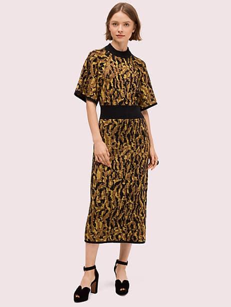 mockneck sweater dress, hazelnut, large by kate spade new york