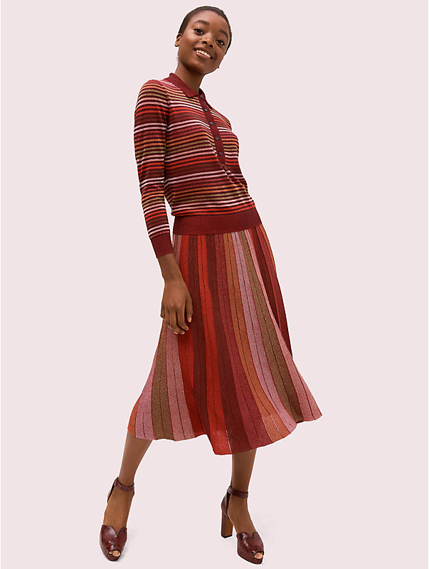 metallic stripe knit skirt, , rr_large