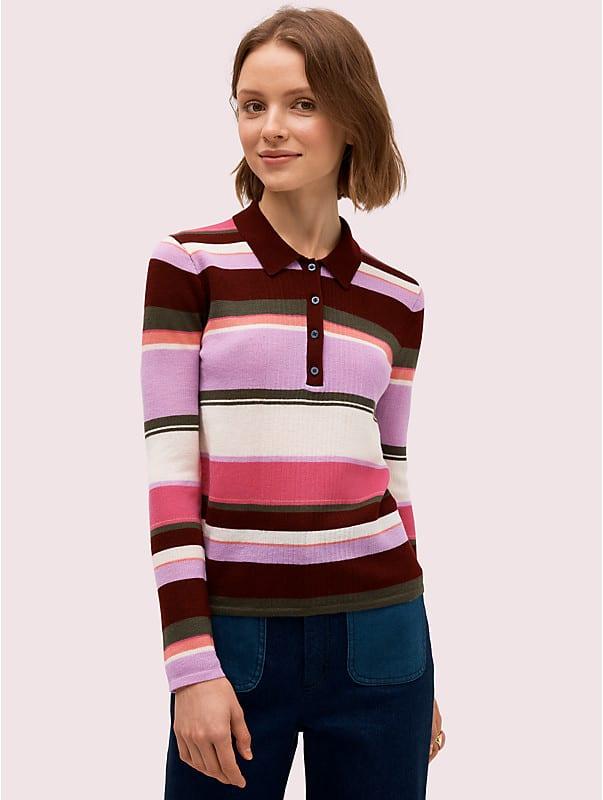 fine stripe polo sweater, , rr_large