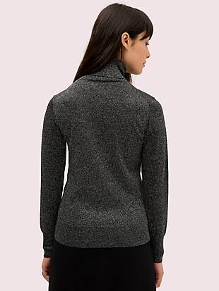 metallic ribbed turtleneck by kate spade new york hover view