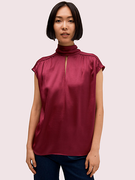 satin tie neck top by kate spade new york