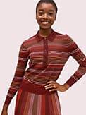 metallic stripe polo sweater, , s7productThumbnail