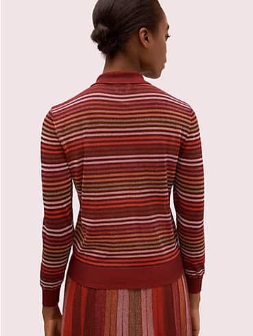 metallic stripe polo sweater, , rr_productgrid