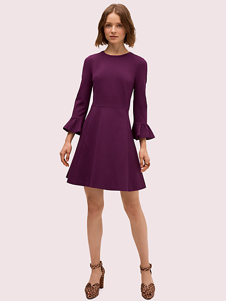 here\\\'s a simple solid dress with a twist: we added bell sleeves to this classic fit-and-flare for a playful, feminine update. crafted of our popular stretchy ponte, it\\\'s not too tight, not too loose-just super comfortable, so you\\\'ll actually want to wear it all the time. and with the right styling (like tights in the winter) you can. Kate Spade Bell Sleeve Ponte Dress, Wisteria Garden - Large