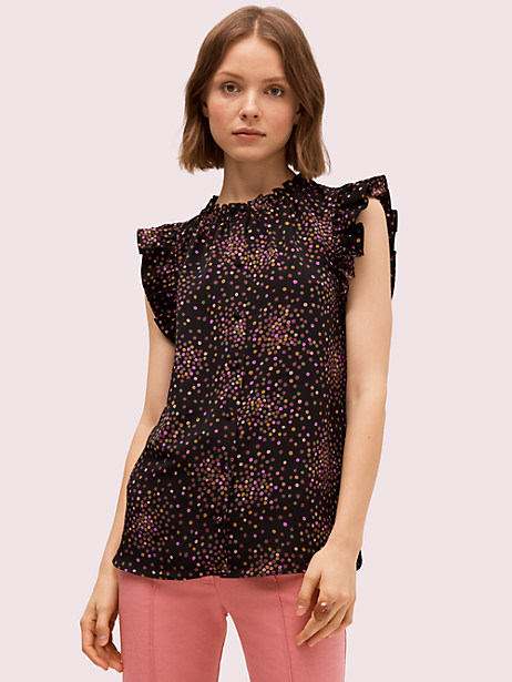 disco dots shell, black, large by kate spade new york