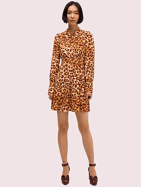 panthera shirtdress, neutral, large by kate spade new york