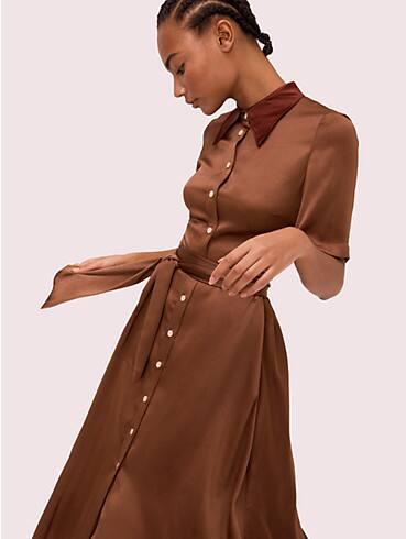 satin smocked back shirtdress, , rr_productgrid