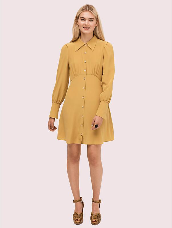 silk point collar shirtdress, , rr_large