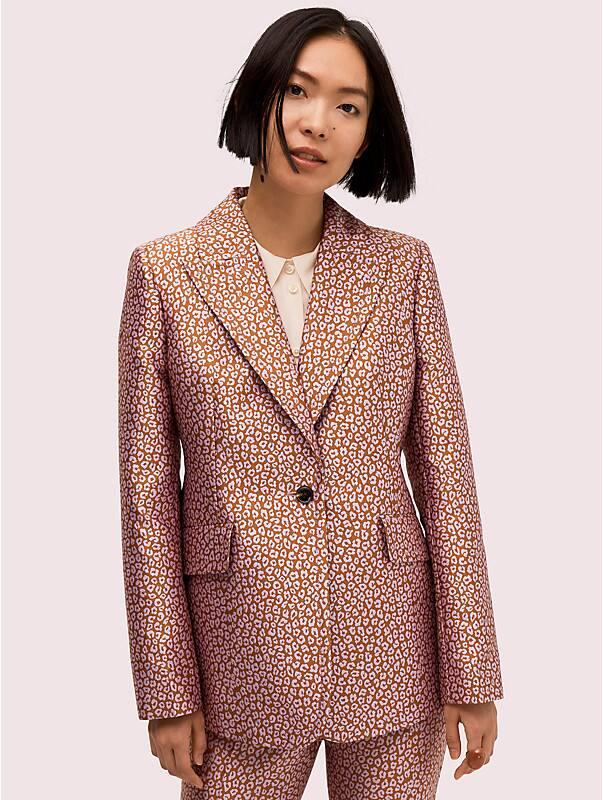 flora leopard jacquard blazer, , rr_large