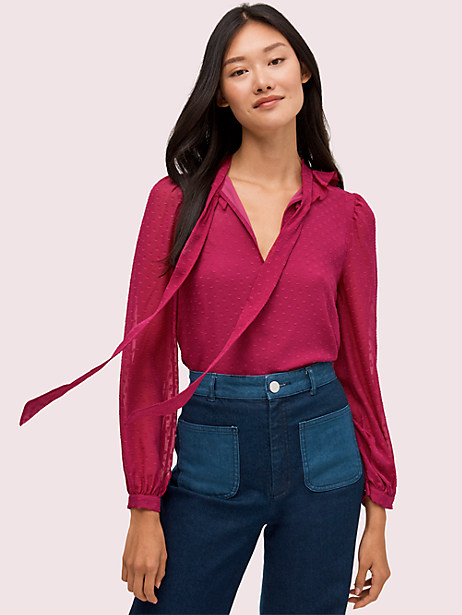 ruffle clip tie neck blouse by kate spade new york
