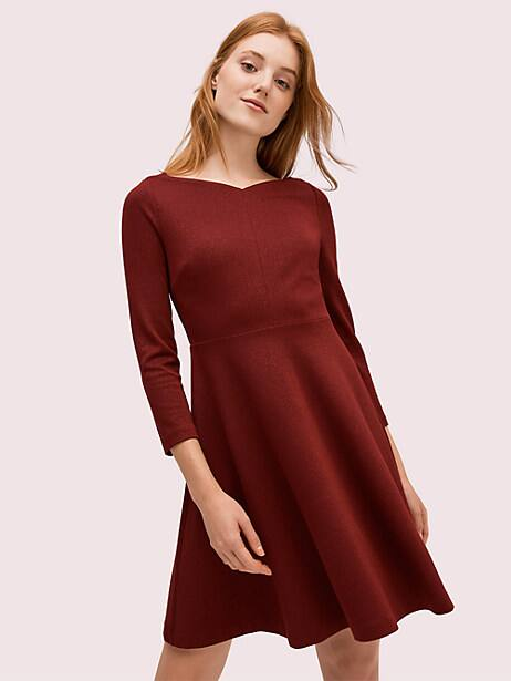 here\\\'s a feminine fit-and-flare dress you can throw on for all your upcoming parties and instantly look polished. crafted in our popular stretchy ponte, it\\\'s not too tight, not too loose-just super comfortable and flattering, so you\\\'ll actually want to wear it everywhere. and we\\\'re really into sparkle every season, so we wove it with metallic silver thread for a touch of shine. Kate Spade Sparkle Ponte Dress, Mission Fig - 8