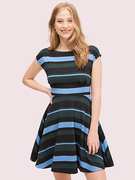 stripe ponte fiorella dress, emerald, large by kate spade new york