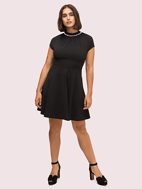 pearl pavé dress, black, large by kate spade new york