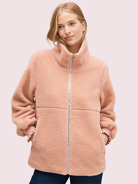 sherpa zip-up, macaron pink, large by kate spade new york