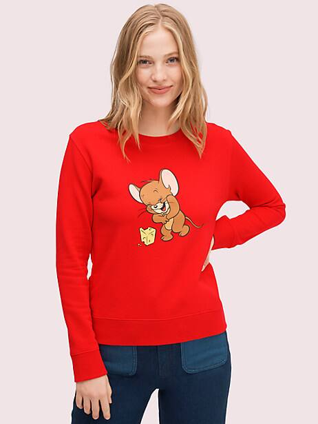 kate spade new york x tom & jerry sweatshirt, maraschino, large by kate spade new york