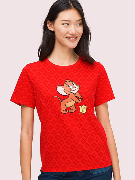 kate spade new york x tom & jerry tee, maraschino, large by kate spade new york