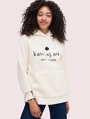 logo sherpa hoodie by kate spade new york non-hover view