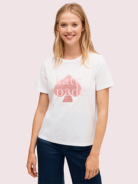 glitter logo tee, fresh white, large by kate spade new york