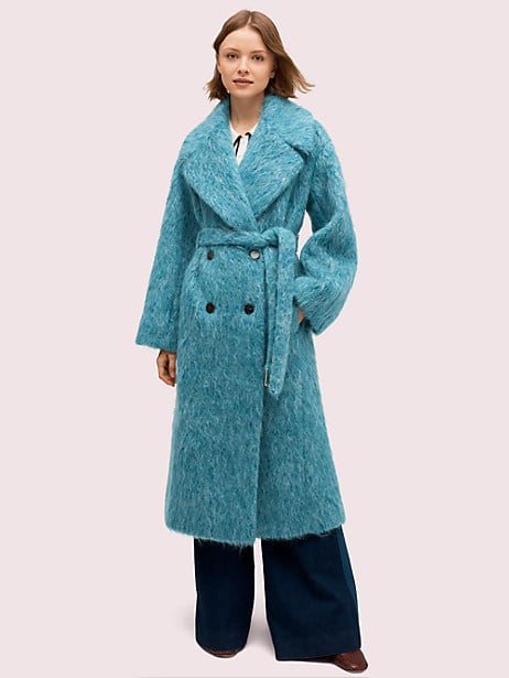 long-haired wool coat, blue lagoon, large by kate spade new york