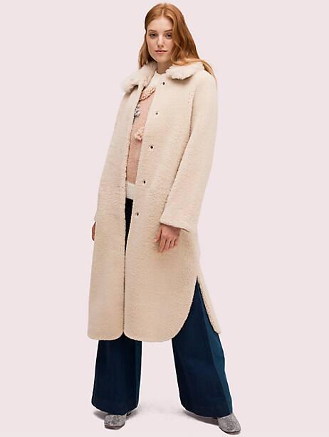 fur collar shearling coat by kate spade new york
