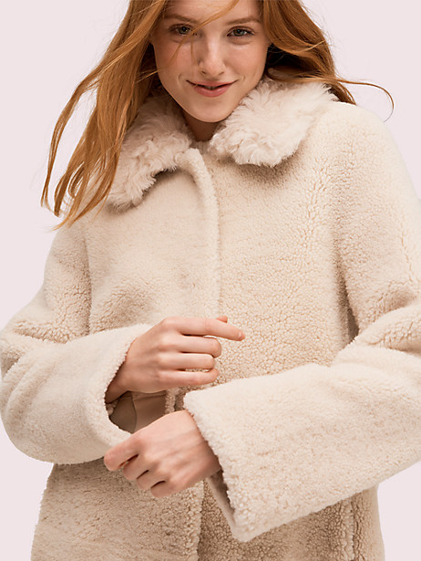 Fur collar shearling coat | Kate Spade New York