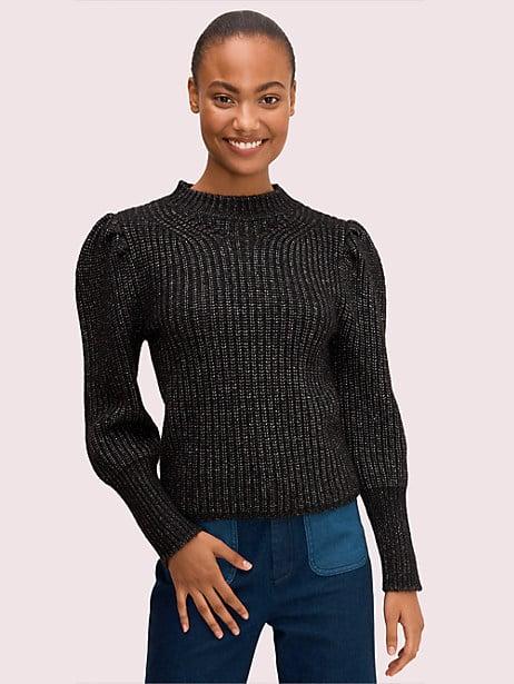 metallic puff sleeve sweater by kate spade new york