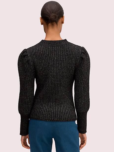 Metallic puff sleeve sweater   Kate Spade New York