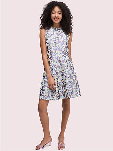 floral jacquard fit-and-flare dress, , rr_productgrid