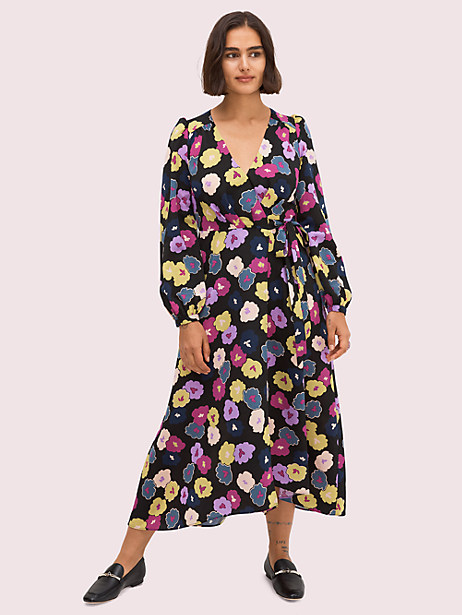 blooms that keep their beauty, snow or shine. see: our winter garden print. and with its flattering wrap silhouette and puff sleeves, you\\\'ll actually want to wear this midi dress all year long. Kate Spade Winter Garden Wrap Dress, Black - 0