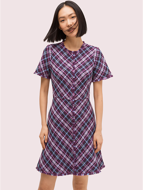 plaid tweed dress, , rr_large