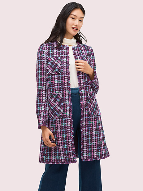 plaid tweed coat by kate spade new york