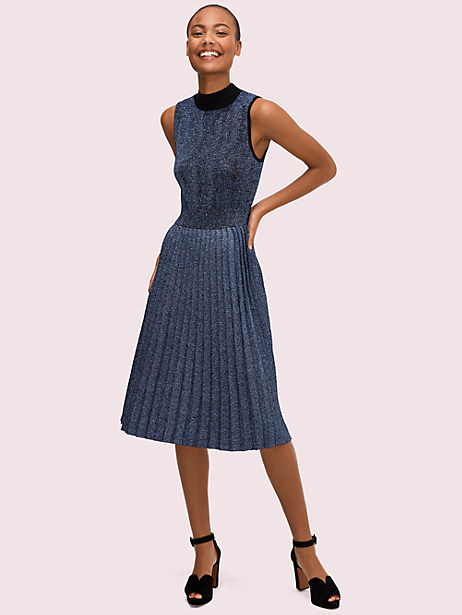 metallic pleated sweater dress by kate spade new york